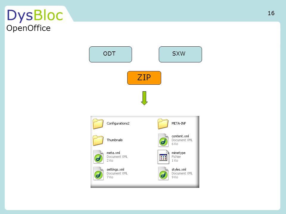 DysBloc OpenOffice ODTSXW ZIP 16
