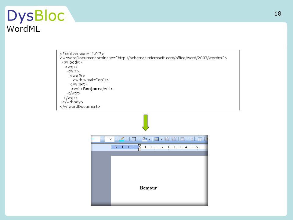 DysBloc WordML Bonjour 18