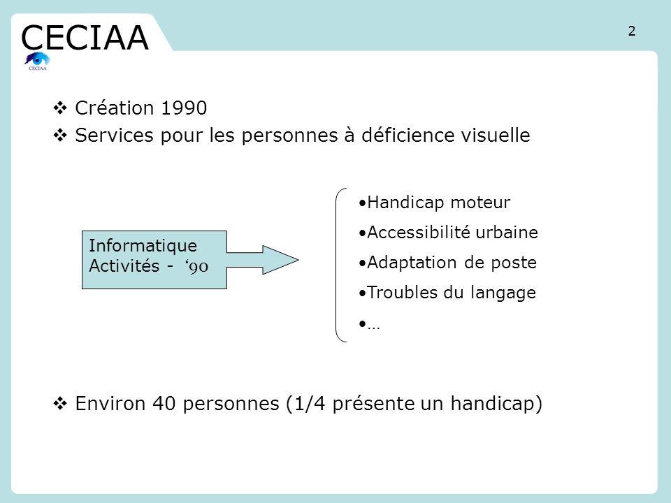 Création 1990 Services pour les personnes à déficience visuelle Environ 40 personnes (1/4 présente un handicap) CECIAA Handicap moteur Accessibilité u