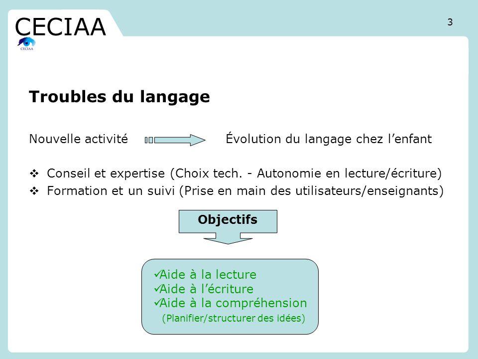 Troubles du langage Nouvelle activité Évolution du langage chez lenfant Conseil et expertise (Choix tech. - Autonomie en lecture/écriture) Formation e