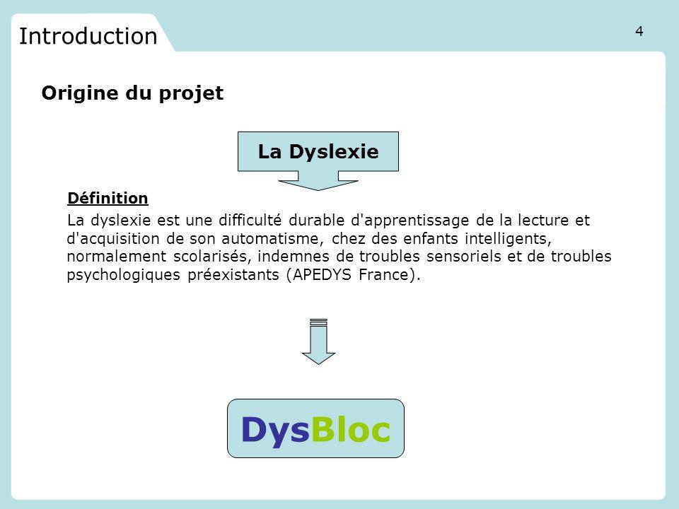 Introduction Origine du projet Définition La dyslexie est une difficulté durable d'apprentissage de la lecture et d'acquisition de son automatisme, ch