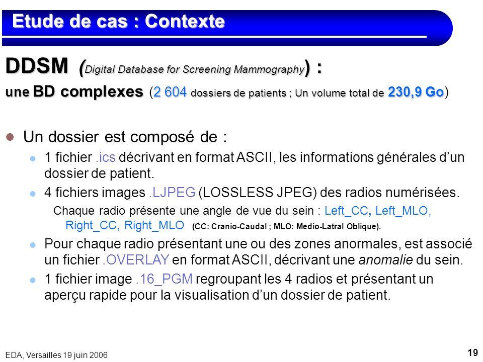 19 EDA, Versailles 19 juin 2006 Etude de cas : Contexte Etude de cas : Contexte DDSM ( Digital Database for Screening Mammography ) : une BD complexes