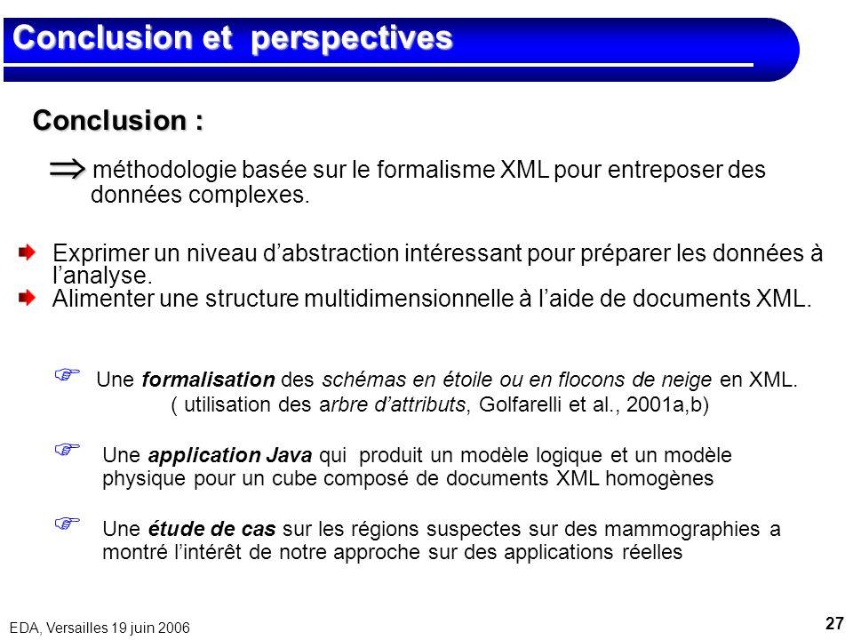 27 EDA, Versailles 19 juin 2006 Conclusion et perspectives Une formalisation des schémas en étoile ou en flocons de neige en XML. ( utilisation des ar