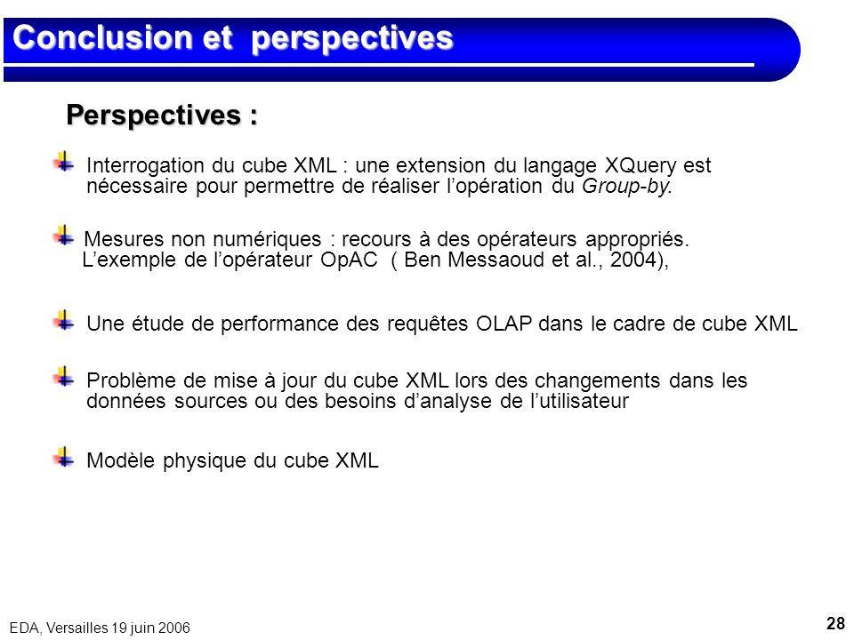 28 EDA, Versailles 19 juin 2006 Conclusion et perspectives Perspectives : Interrogation du cube XML : une extension du langage XQuery est nécessaire p