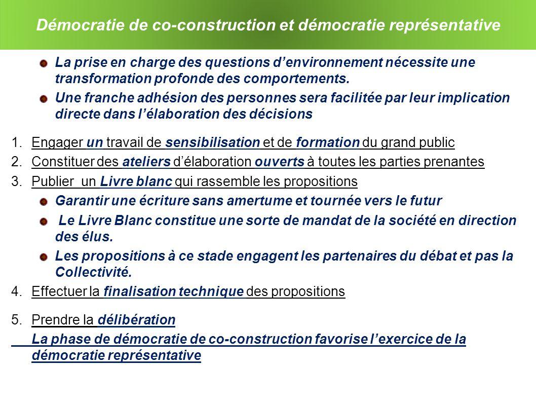Démocratie de co-construction et démocratie représentative La prise en charge des questions denvironnement nécessite une transformation profonde des comportements.