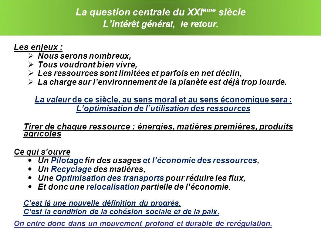 La question centrale du XXI ème siècle Li ntérêt général, le retour.