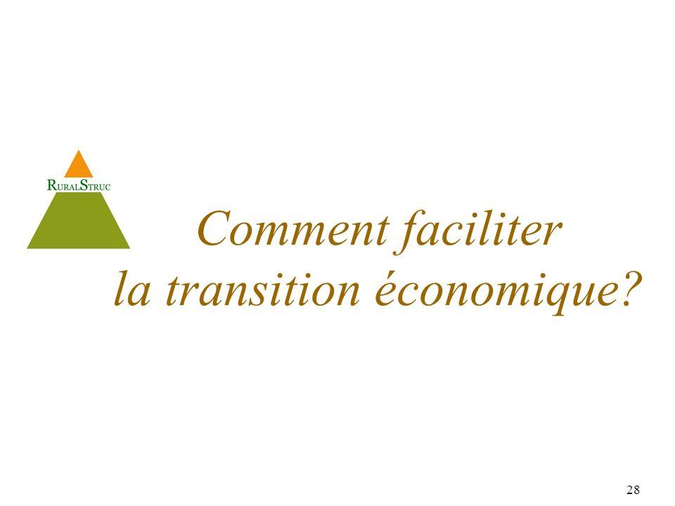 28 Comment faciliter la transition économique