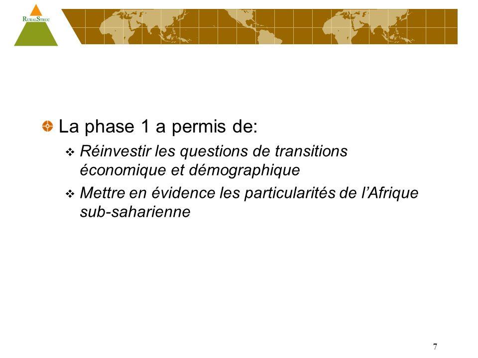 7 La phase 1 a permis de: Réinvestir les questions de transitions économique et démographique Mettre en évidence les particularités de lAfrique sub-saharienne