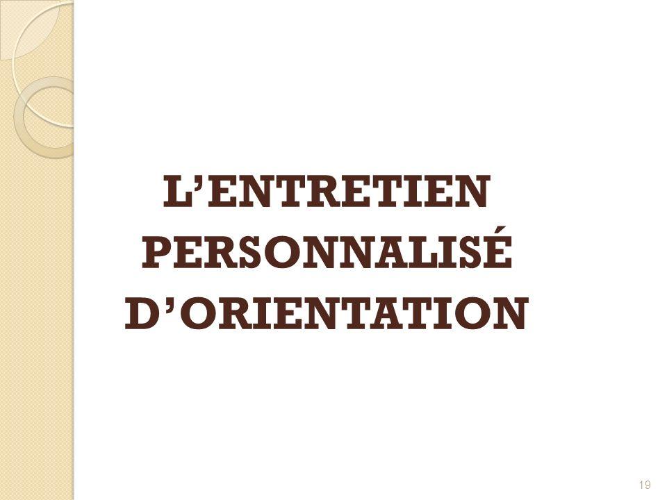 19 LENTRETIEN PERSONNALISÉ DORIENTATION