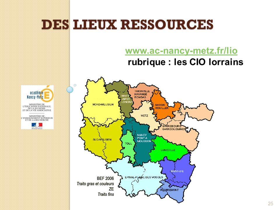 DES LIEUX RESSOURCES 25 www.ac-nancy-metz.fr/lio rubrique : les CIO lorrains