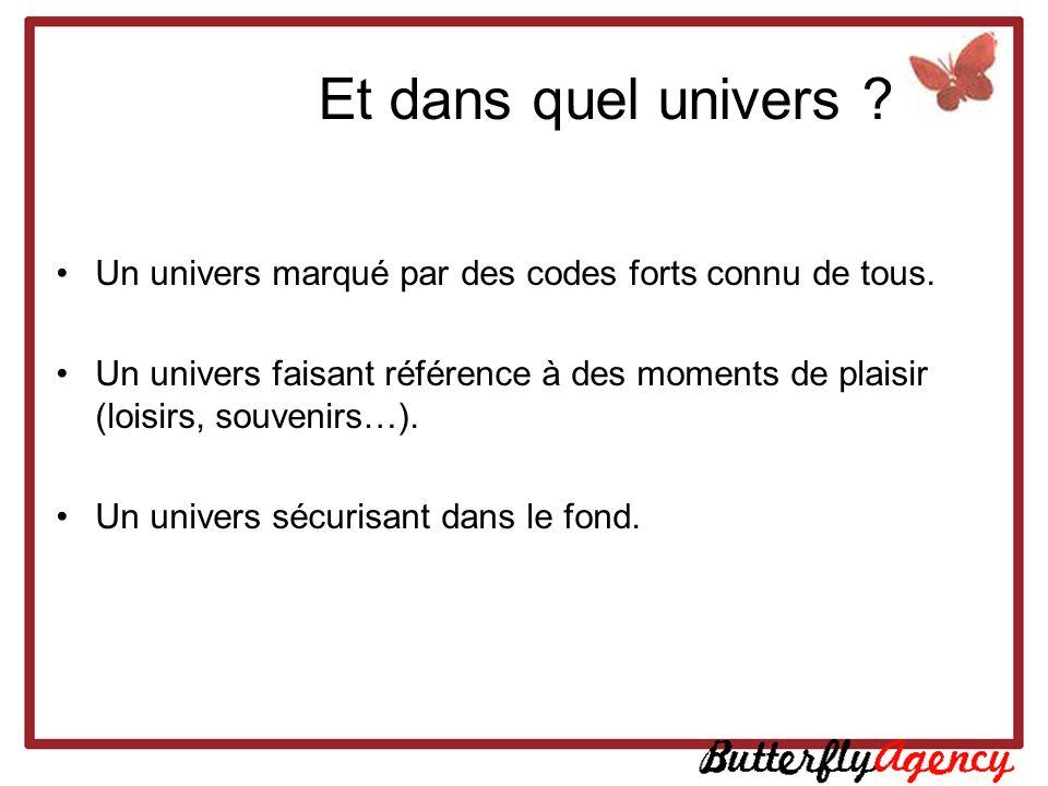 Et dans quel univers ? Un univers marqué par des codes forts connu de tous. Un univers faisant référence à des moments de plaisir (loisirs, souvenirs…
