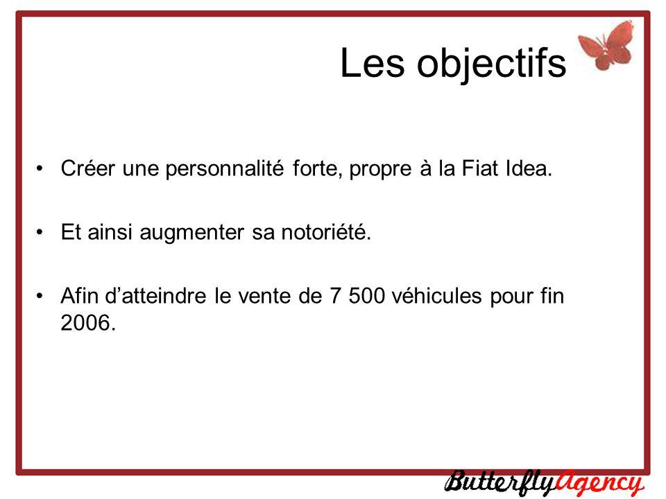 Les objectifs Créer une personnalité forte, propre à la Fiat Idea. Et ainsi augmenter sa notoriété. Afin datteindre le vente de 7 500 véhicules pour f