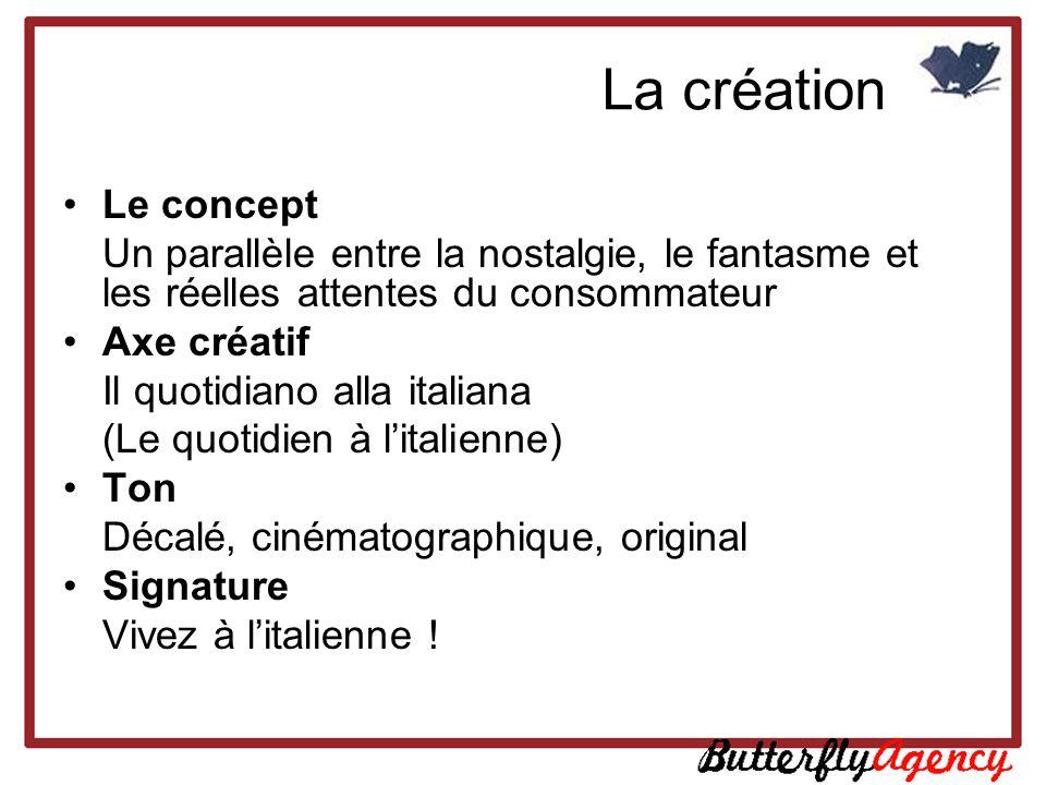 La création Le concept Un parallèle entre la nostalgie, le fantasme et les réelles attentes du consommateur Axe créatif Il quotidiano alla italiana (L