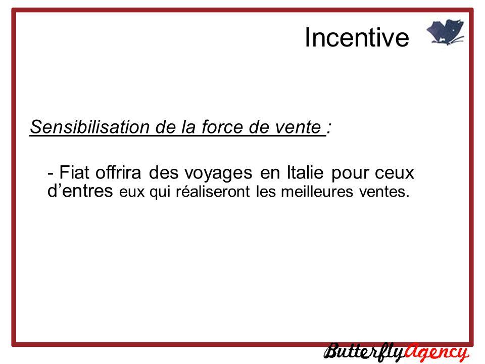 Sensibilisation de la force de vente : - Fiat offrira des voyages en Italie pour ceux dentres eux qui réaliseront les meilleures ventes. Incentive