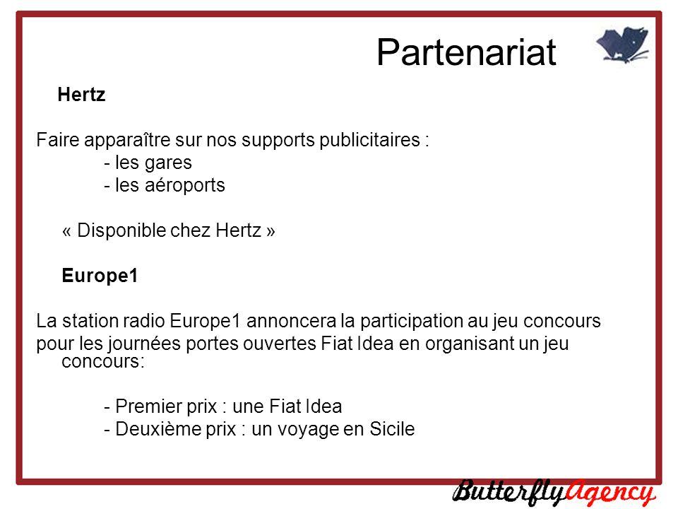 Hertz Faire apparaître sur nos supports publicitaires : - les gares - les aéroports « Disponible chez Hertz » Europe1 La station radio Europe1 annonce