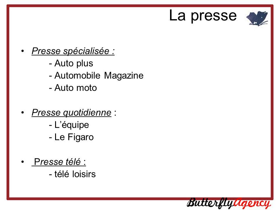 La presse Presse spécialisée : - Auto plus - Automobile Magazine - Auto moto Presse quotidienne : - Léquipe - Le Figaro Presse télé : - télé loisirs