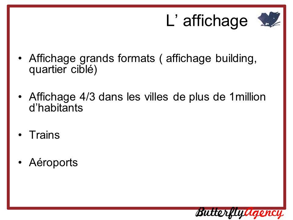 L affichage Affichage grands formats ( affichage building, quartier ciblé) Affichage 4/3 dans les villes de plus de 1million dhabitants Trains Aéropor