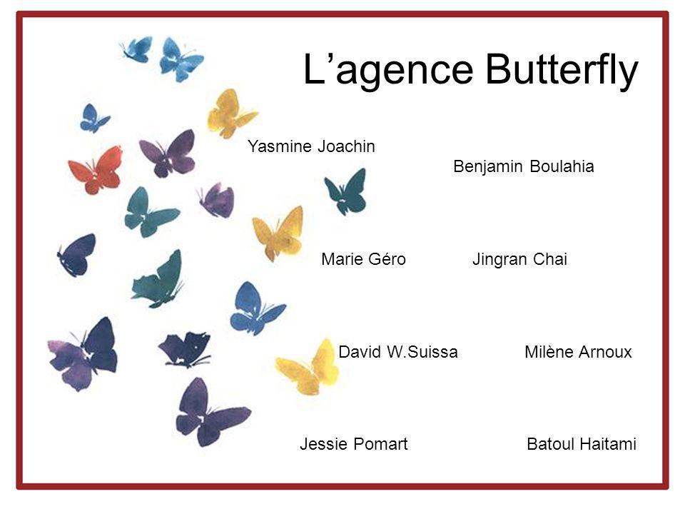 Lagence Butterfly Yasmine Joachin Benjamin Boulahia Marie Géro Jingran Chai David W.Suissa Milène Arnoux Jessie Pomart Batoul Haitami