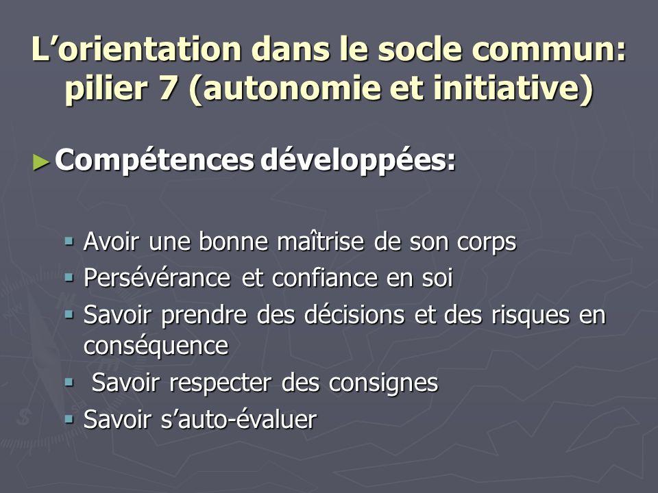 Lorientation dans le socle commun: pilier 7 (autonomie et initiative) Compétences développées: Compétences développées: Avoir une bonne maîtrise de so