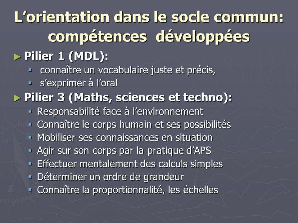 Lorientation dans le socle commun: compétences développées Pilier 1 (MDL): Pilier 1 (MDL): connaître un vocabulaire juste et précis, connaître un voca