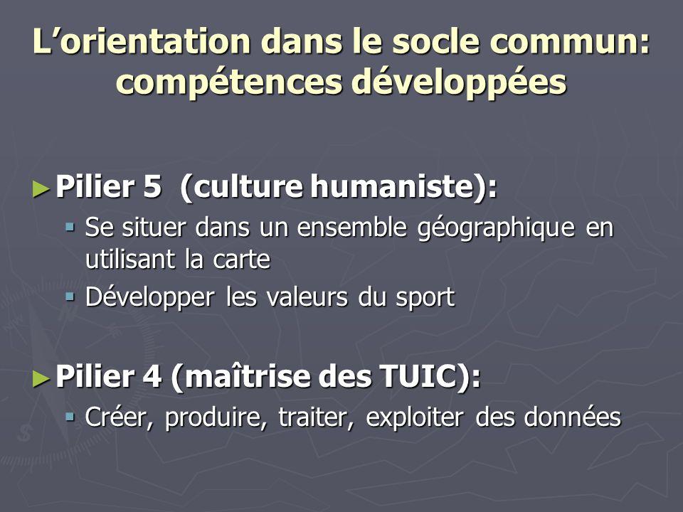 Lorientation dans le socle commun: compétences développées Pilier 5 (culture humaniste): Pilier 5 (culture humaniste): Se situer dans un ensemble géog