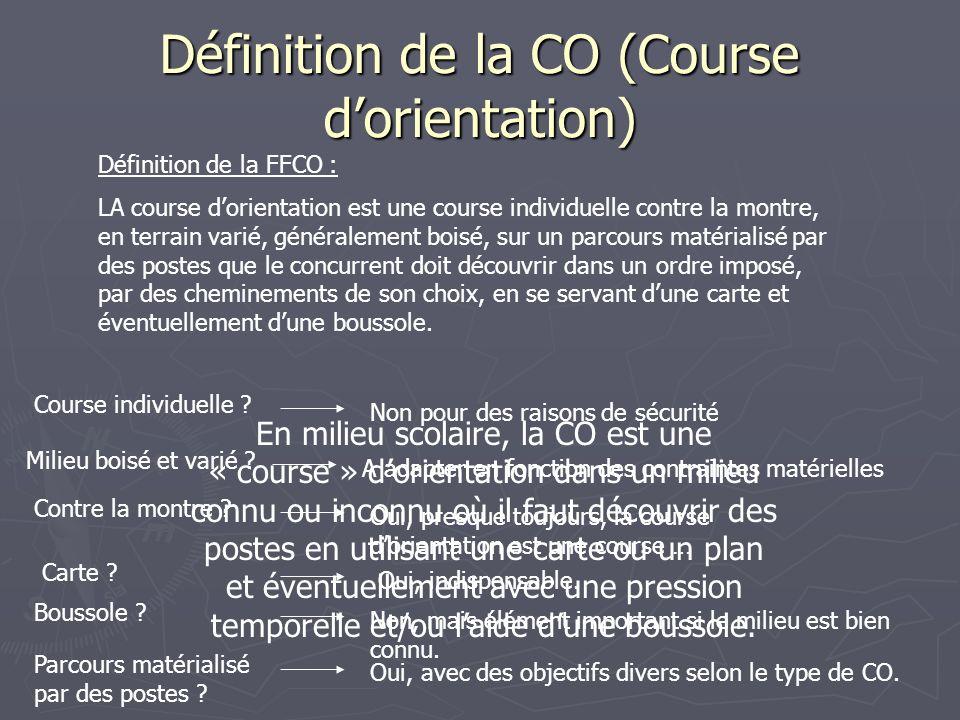 Définition de la CO (Course dorientation) Définition de la FFCO : LA course dorientation est une course individuelle contre la montre, en terrain vari
