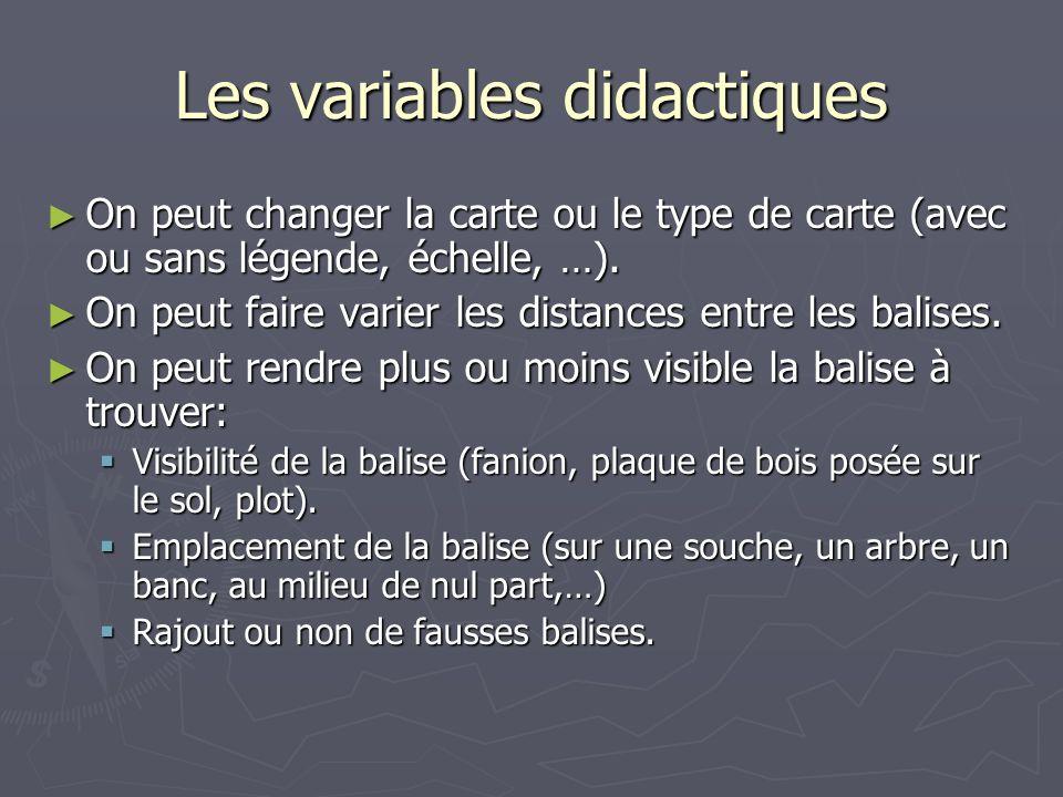 Les variables didactiques On peut changer la carte ou le type de carte (avec ou sans légende, échelle, …). On peut changer la carte ou le type de cart