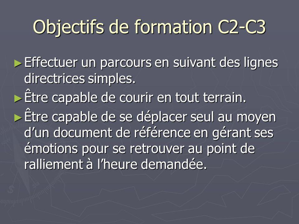 Objectifs de formation C2-C3 Effectuer un parcours en suivant des lignes directrices simples. Effectuer un parcours en suivant des lignes directrices