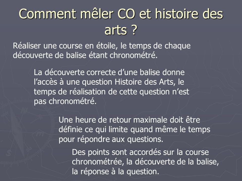 Comment mêler CO et histoire des arts ? Réaliser une course en étoile, le temps de chaque découverte de balise étant chronométré. La découverte correc