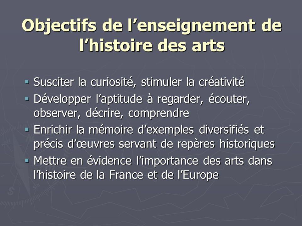 Objectifs de lenseignement de lhistoire des arts Susciter la curiosité, stimuler la créativité Susciter la curiosité, stimuler la créativité Développe
