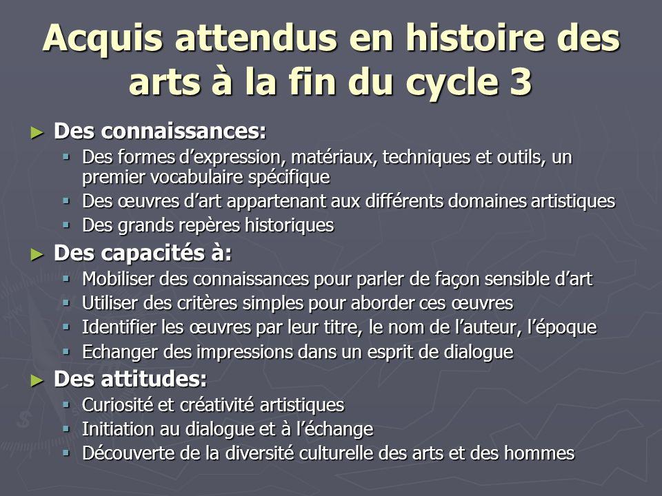 Acquis attendus en histoire des arts à la fin du cycle 3 Des connaissances: Des connaissances: Des formes dexpression, matériaux, techniques et outils