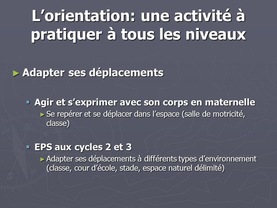 Lorientation: une activité à pratiquer à tous les niveaux Adapter ses déplacements Adapter ses déplacements Agir et sexprimer avec son corps en matern