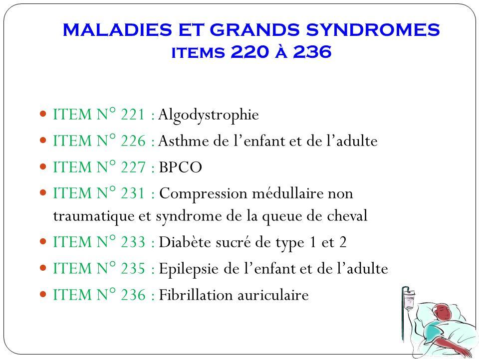 MALADIES ET GRANDS SYNDROMES items 220 à 236 ITEM N° 221 : Algodystrophie ITEM N° 226 : Asthme de lenfant et de ladulte ITEM N° 227 : BPCO ITEM N° 231