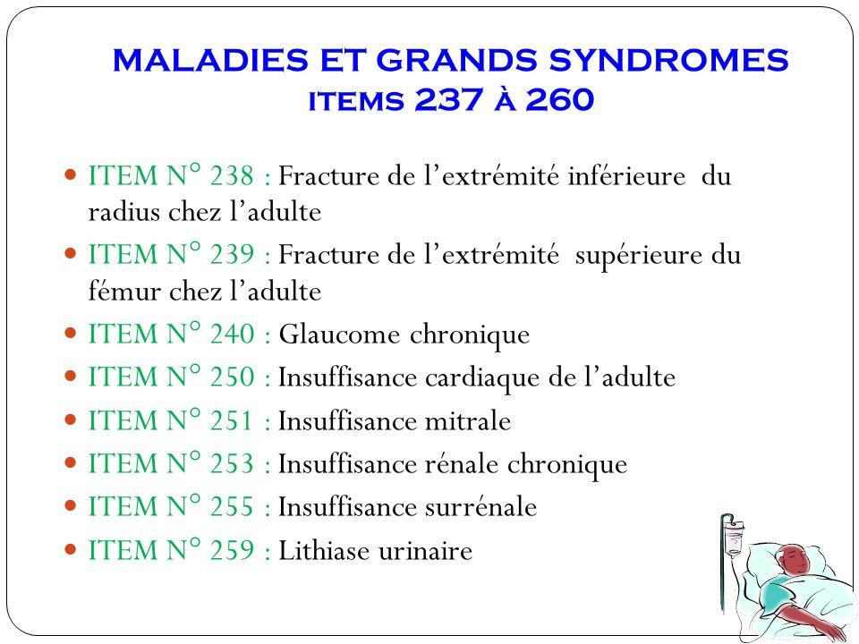 MALADIES ET GRANDS SYNDROMES items 237 à 260 ITEM N° 238 : Fracture de lextrémité inférieure du radius chez ladulte ITEM N° 239 : Fracture de lextrémi