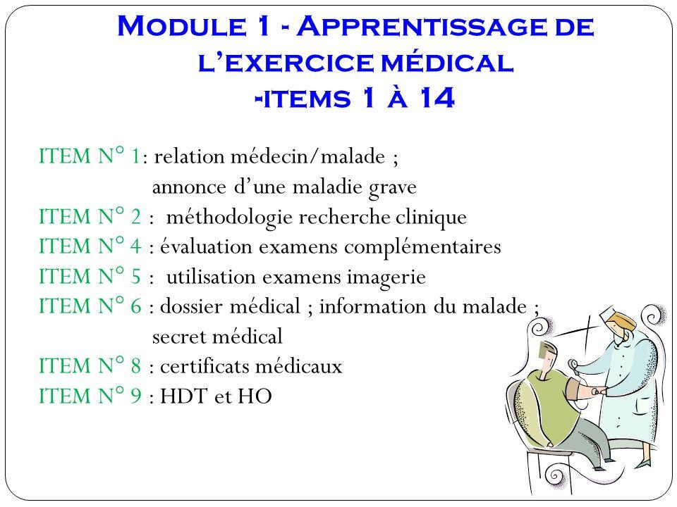 Module 1 - Apprentissage de lexercice médical -items 1 à 14 ITEM N° 1: relation médecin/malade ; annonce dune maladie grave ITEM N° 2 : méthodologie r