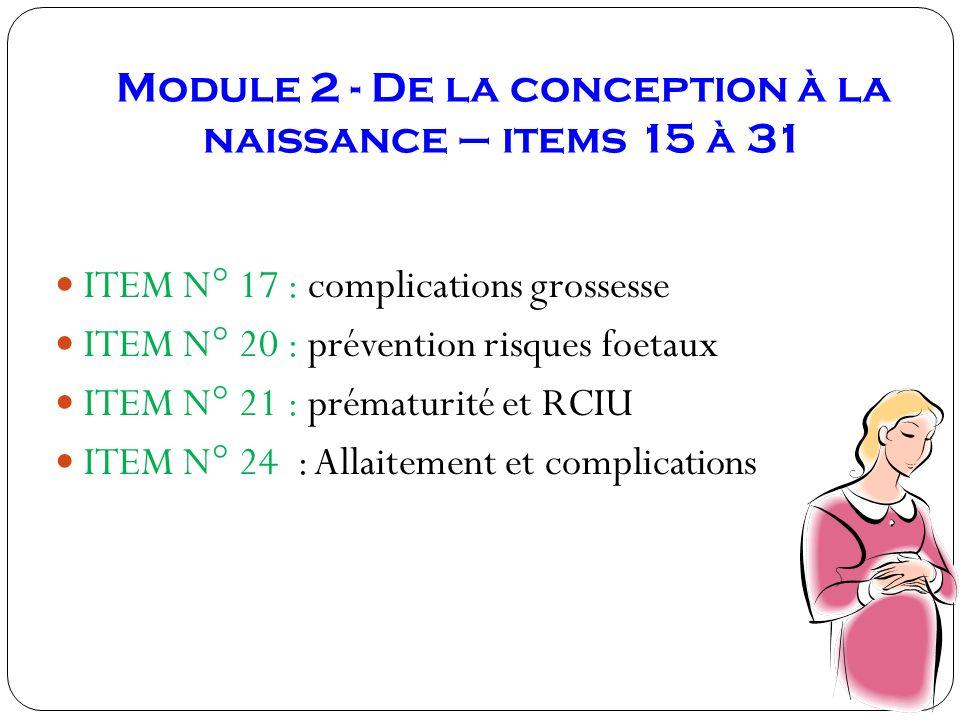 Module 2 - De la conception à la naissance – items 15 à 31 ITEM N° 17 : complications grossesse ITEM N° 20 : prévention risques foetaux ITEM N° 21 : p