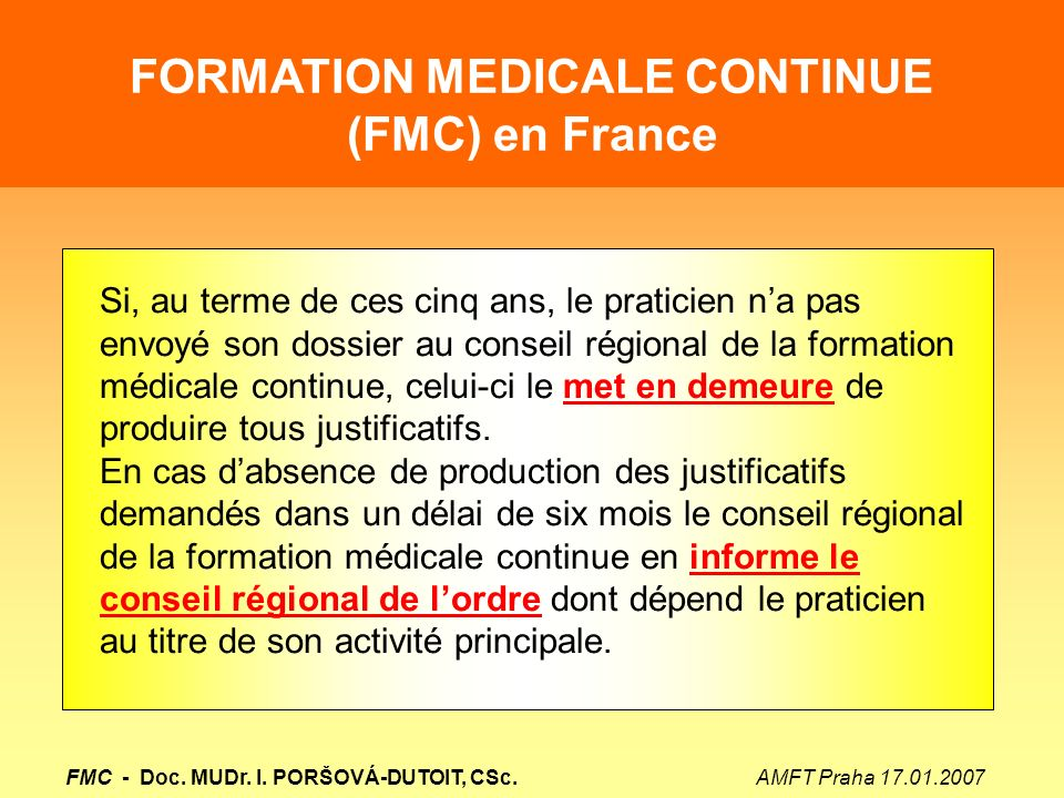 FORMATION MEDICALE CONTINUE (FMC) en France FMC - Doc.