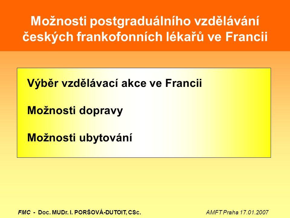 Možnosti postgraduálního vzdělávání českých frankofonních lékařů ve Francii Výběr vzdělávací akce ve Francii Možnosti dopravy Možnosti ubytování FMC -