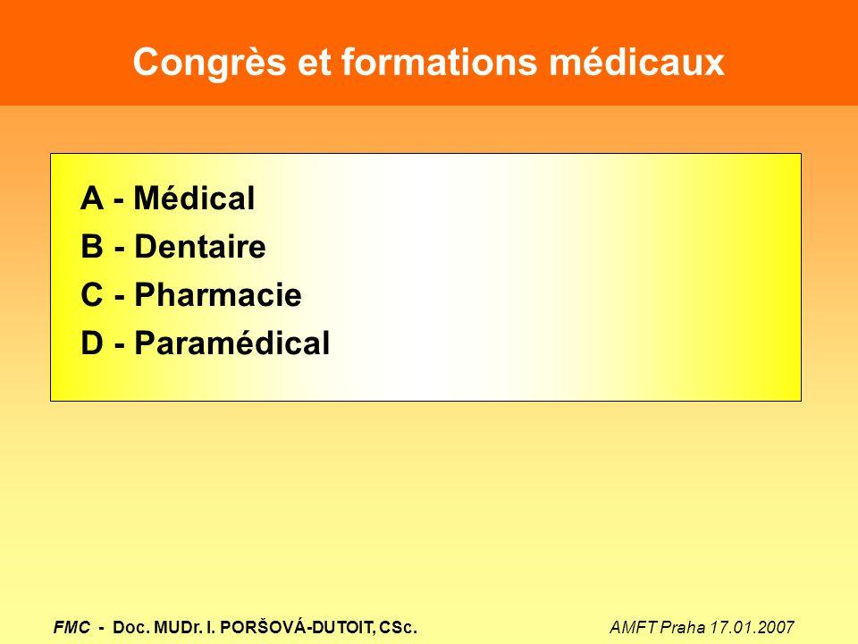 Congrès et formations médicaux A - Médical B - Dentaire C - Pharmacie D - Paramédical FMC - Doc. MUDr. I. PORŠOVÁ-DUTOIT, CSc. AMFT Praha 17.01.2007