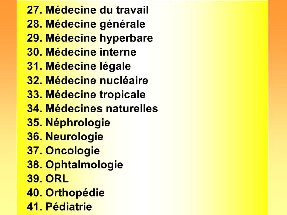 27. Médecine du travail 28. Médecine générale 29. Médecine hyperbare 30. Médecine interne 31. Médecine légale 32. Médecine nucléaire 33. Médecine trop