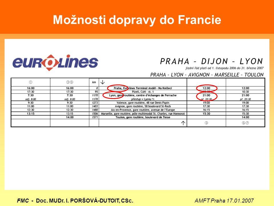 Možnosti dopravy do Francie FMC - Doc. MUDr. I. PORŠOVÁ-DUTOIT, CSc. AMFT Praha 17.01.2007