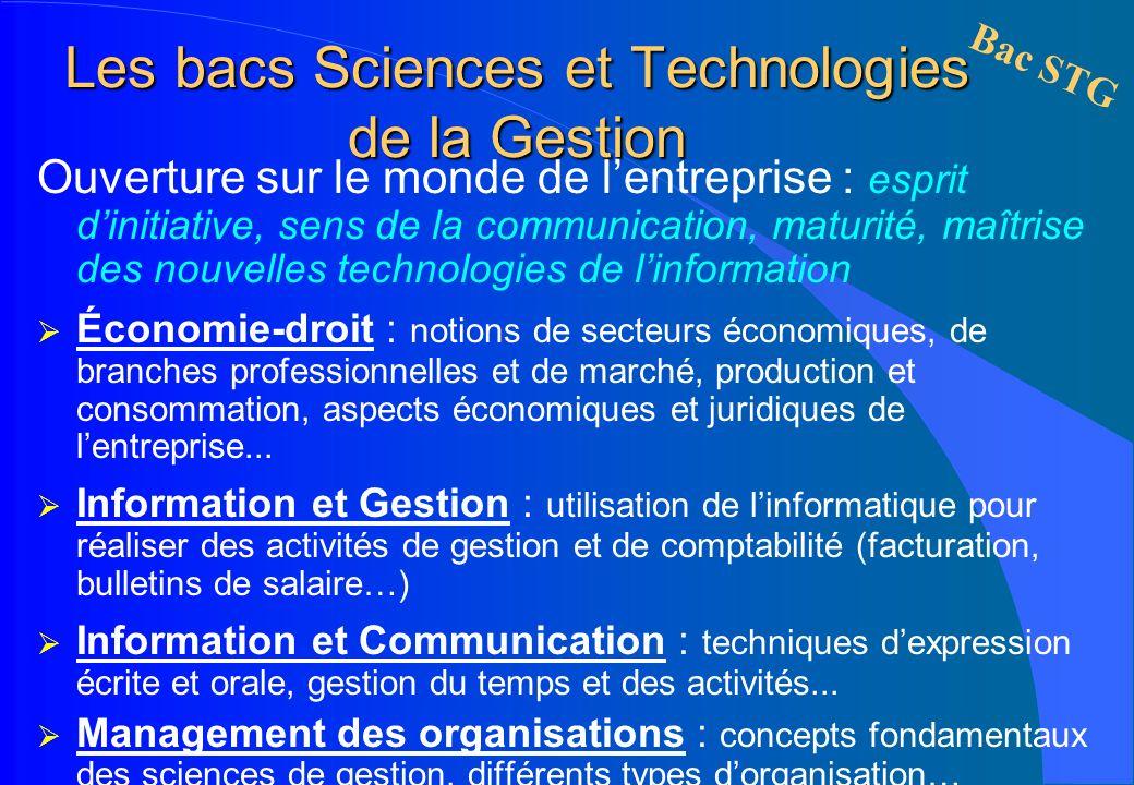 Les bacs Sciences et Technologies de la Gestion Ouverture sur le monde de lentreprise : esprit dinitiative, sens de la communication, maturité, maîtri