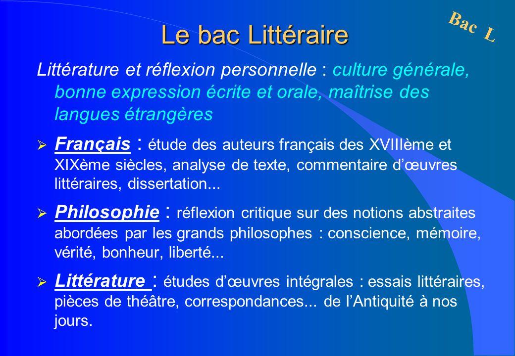 Le bac Littéraire Littérature et réflexion personnelle : culture générale, bonne expression écrite et orale, maîtrise des langues étrangères Français
