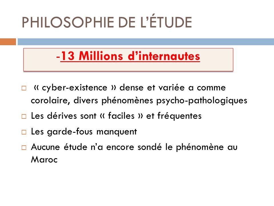 PHILOSOPHIE DE LÉTUDE « cyber-existence » dense et variée a comme corolaire, divers phénomènes psycho-pathologiques Les dérives sont « faciles » et fr