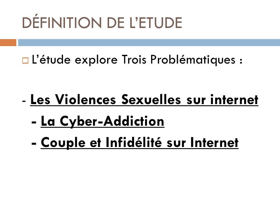 DÉFINITION DE LETUDE Létude explore Trois Problématiques : - Les Violences Sexuelles sur internet - La Cyber-Addiction - Couple et Infidélité sur Inte