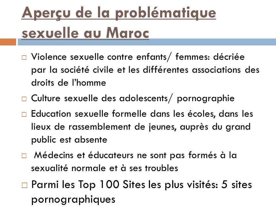 Aperçu de la problématique sexuelle au Maroc Violence sexuelle contre enfants/ femmes: décriée par la société civile et les différentes associations d