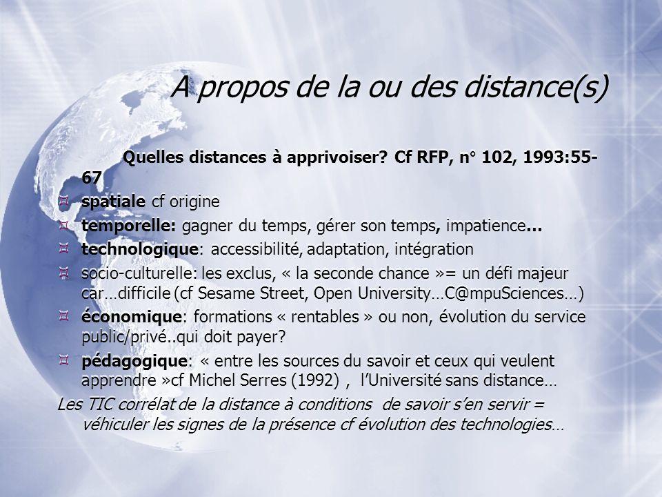 A propos de la ou des distance(s) Quelles distances à apprivoiser.
