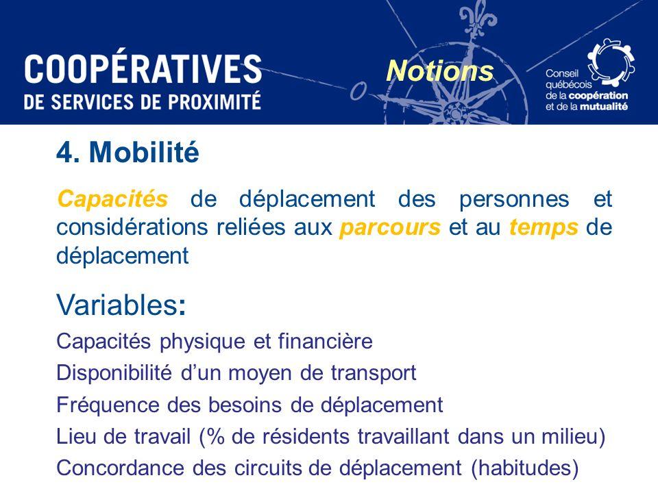 4. Mobilité Capacités de déplacement des personnes et considérations reliées aux parcours et au temps de déplacement Variables: Capacités physique et