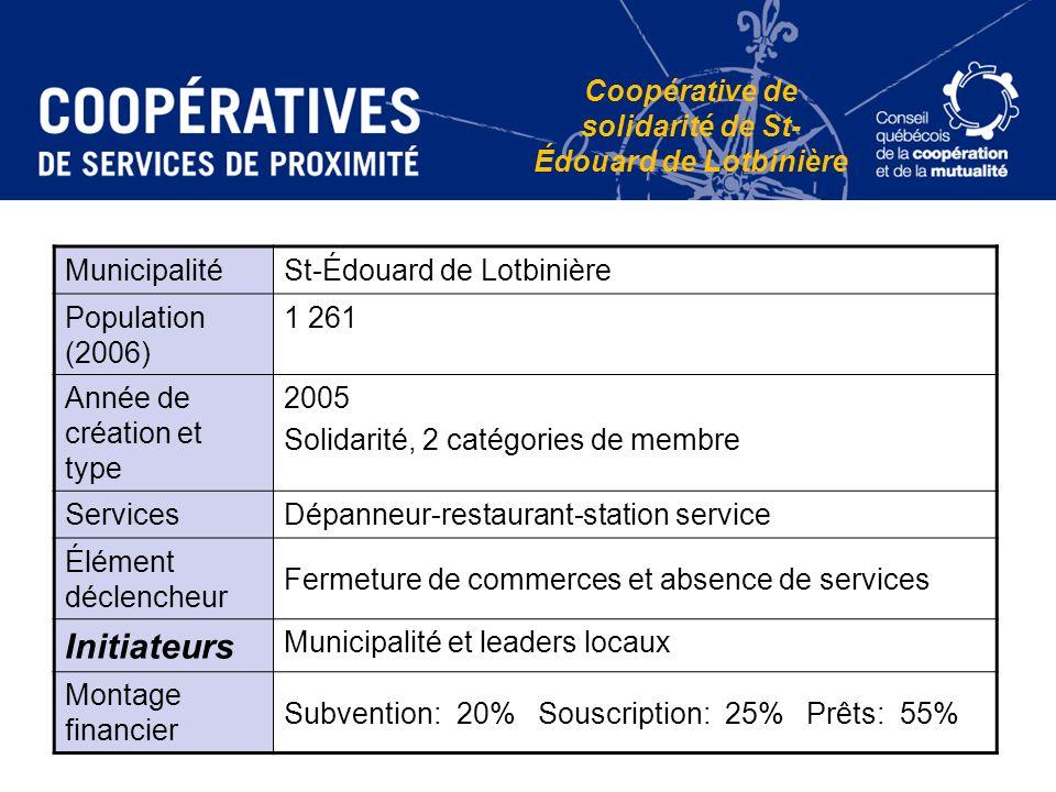 Coopérative de solidarité de St- Édouard de Lotbinière MunicipalitéSt-Édouard de Lotbinière Population (2006) 1 261 Année de création et type 2005 Sol
