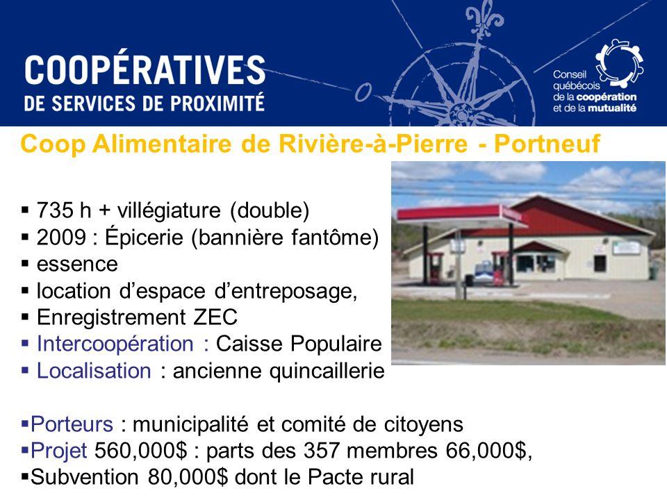 Coop Alimentaire de Rivière-à-Pierre - Portneuf 735 h + villégiature (double) 2009 : Épicerie (bannière fantôme) essence location despace dentreposage
